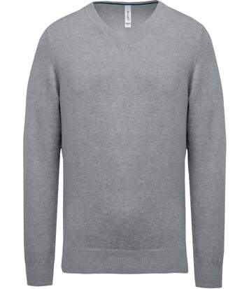 Pull col V homme Premium - PA354 - gris