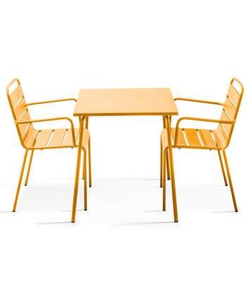 Table de jardin bistrot et 2 fauteuils en acier thermolaqué, Palavas