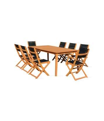 Table de jardin en bois extensible 2 fauteuils et 6 chaises, Martigues