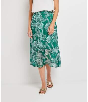 Jupe mi-longue verte femme
