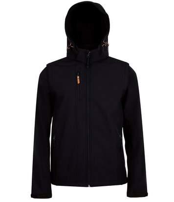 Veste softshell à capuche - manches amovibles - 01647 - noir