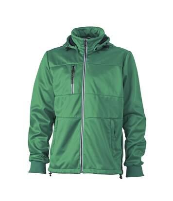 Veste softshell à capuche - homme JN1078 - vert - coupe-vent imperméable