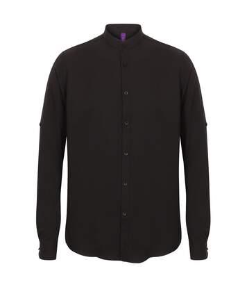 Henbury Mens Mandarin Shirt With Roll-Tab Sleeves (Black) - UTRW5427