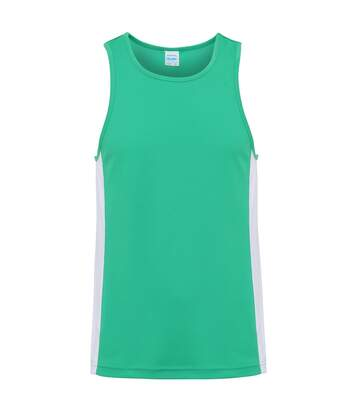 AWDis Just Cool Mens Contrast Panel Sports Vest Top (Kelly Green/Arctic White) - UTRW3476