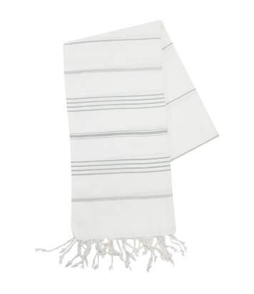 Serviette de plage - fouta - hammam - T1-HAM - blanc et gris