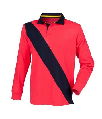 Front Row Mens Diagonal Stripe House Sports Rugby Polo Shirt (Red/ Navy/ Navy) - UTRW2680