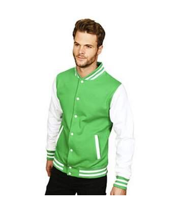 Casual Classic Mens Varsity Jacket (Kelly/White) - UTAB454