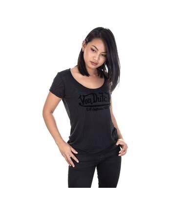 T-shirt Col V Femme Tigresse Imprimé Noir