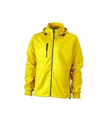 Veste softshell à capuche - homme JN1078 - jaune - coupe-vent imperméable
