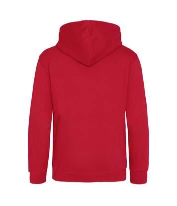 Awdis Mens Varsity Hooded Sweatshirt / Hoodie / Zoodie (Jet Black/ Orange Crush) - UTRW182