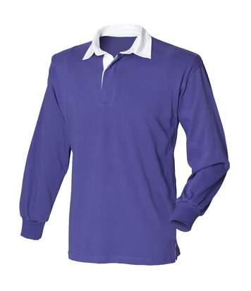 Front Row - T-Shirt De Rugby À Manches Longues En Coton - Homme (Pourpre) - UTRW473