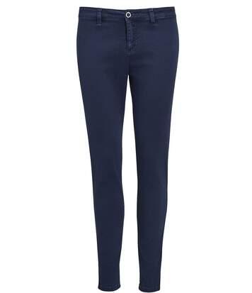 pantalon toile stretch femme - 01425 7-8ème - bleu marine