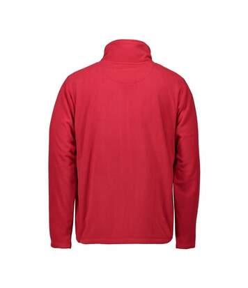 ID Mens Microfleece Full Zip Cardigan (Red) - UTID423