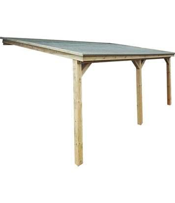 Carport à adosser en bois 3x5 m Roof Sans option