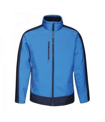 Regatta Mens Contrast 3 Layer Softshell Full Zip Jacket (Jet Black/Orient Red) - UTRG3747