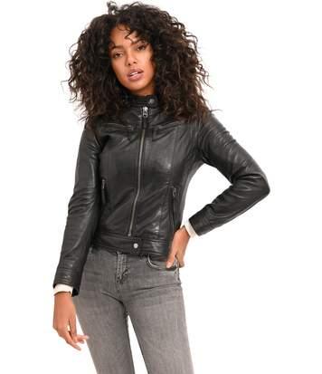 Logan Soul Veste courte en cuir style motard  Femme