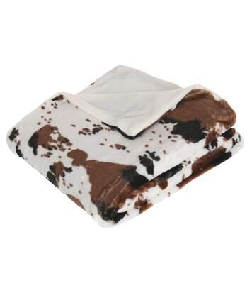 Plaid Vache - 130 x 160 cm - Blanc et marron