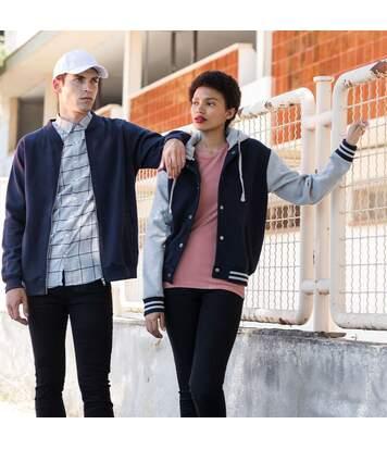 Skinni Fit Mens Heavy Weight Baseball Jacket With Detachable Hood (Navy/Heather Grey) - UTRW1395