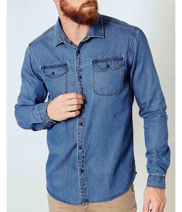 Chemise homme en jean bleu à motifs