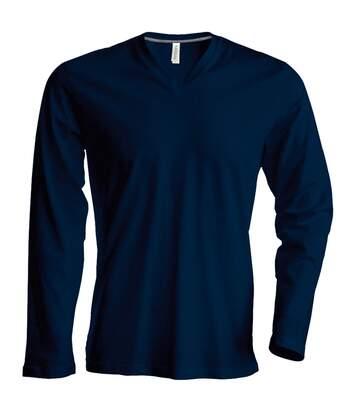 Kariban Mens Slim Fit Long Sleeve V Neck T-Shirt (Navy) - UTRW708