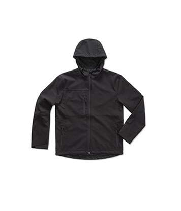 Stedman Mens Active Softest Shell Hooded Jacket (Black Opal) - UTAB308