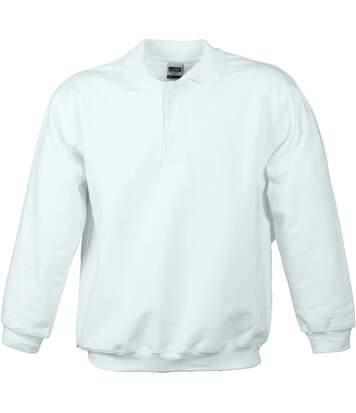 Sweat-shirt col polo - homme - JN041 - blanc