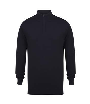 Henbury Mens 1/4 Zip Long Sleeve Jumper (Navy) - UTRW5289