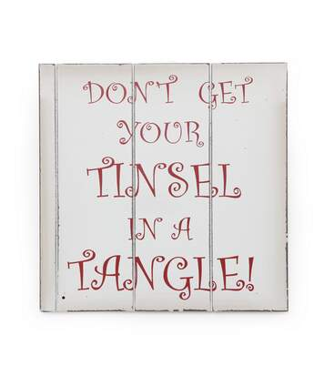 Christmas Shop - Écriteau De Noël 'Don't Get Your Tinsel In A Tangle' (Blanc/Rouge) - UTRW3842