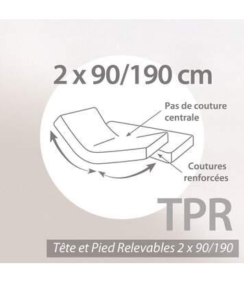 Protège matelas imperméable 2x90x190 ANTONY spécial lit articulé TPR Molleton enduction acrylique Bonnet 30cm
