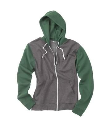 Awdis Mens Retro Zoodie / Hooded Sweatshirt / Hoodie (Jet Black/Fire Red) - UTRW185