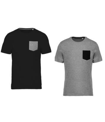 Lot 2 T-shirts manches courtes avec poche - K375 - noir et gris - homme - coton bio