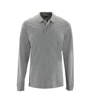 SOLS Mens Perfect Long Sleeve Pique Polo Shirt (Grey Marl) - UTPC2912