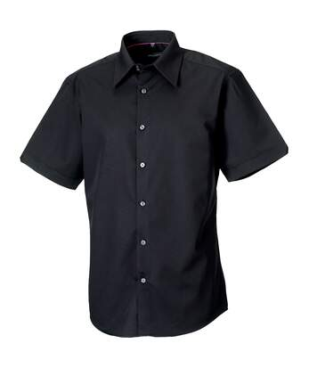 Russell Collection Mens Short Sleeve Tencel® Easy Care Fitted Shirt (Navy) - UTRW3272