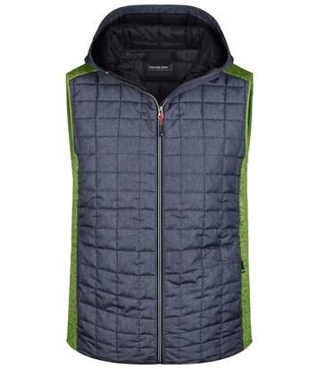 Veste tricot matelassée sans manches - homme - JN768 - gris foncé et kiwi