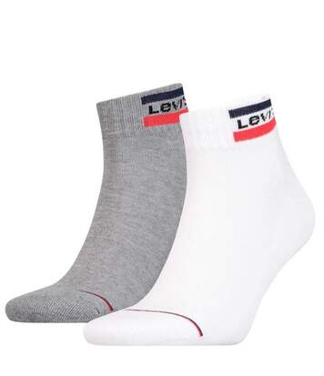 LEVI'S Lot de 2 paires de Socquettes Mixte Coton OLYMP Blanc Gris