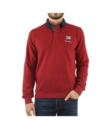 Sweat col polo Rouge