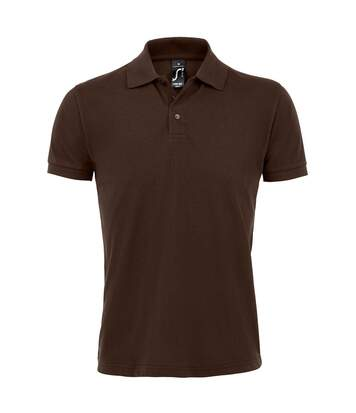 SOLs Mens Prime Pique Plain Short Sleeve Polo Shirt (Chocolate) - UTPC493