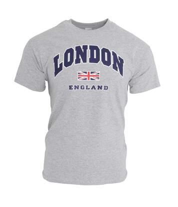 T-Shirt À Manches Courtes 100% Coton Imprimé London England - Homme (Gris sport) - UTSHIRT133