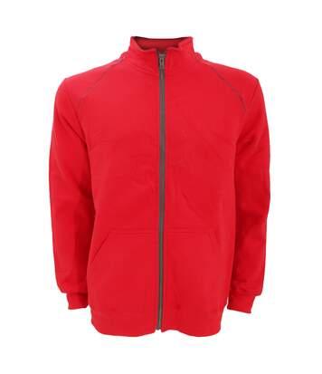 Gildan Mens Premium Cotton Ringspun Fleece Full Zip Jacket (Red) - UTRW3172