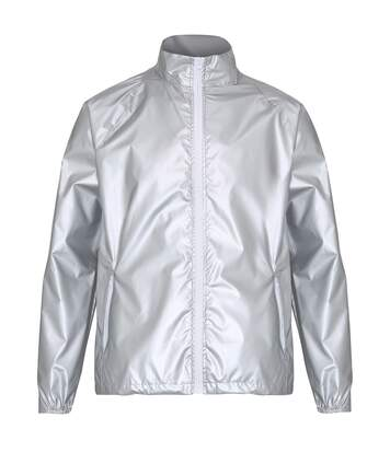 2786 Mens Contrast Lightweight Windcheater Shower Proof Jacket (Pack of 2) (XL) (Silver (Metallic)/ White) - UTRW7001