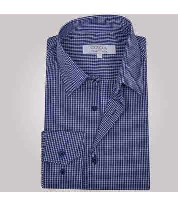Chemise homme bleue à carreaux blancs - Chemise CINTRÉE