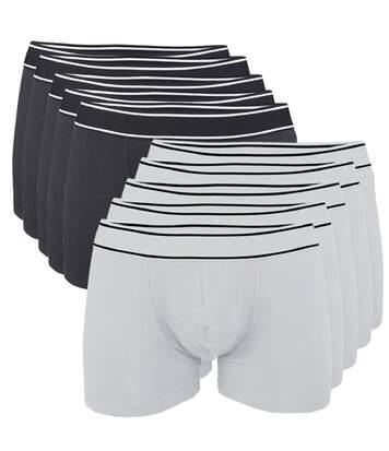 Lot 10 Boxers shorty Homme K800 - coton - noir et blanc