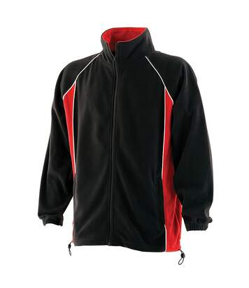 Finden & Hales Mens Piped Anti-Pill Microfleece Jacket (Black/Red/White) - UTRW434