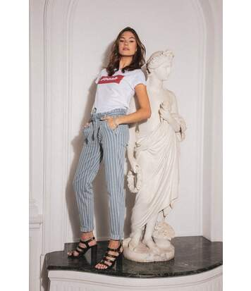 Jean à rayures taille haute LUCIA Striped Denim
