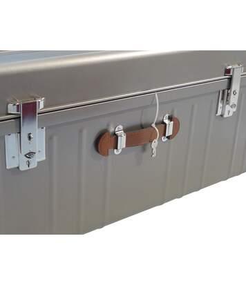 Malle métallique gris souris nacré avec poignée simili cuir 160 litres
