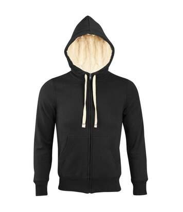 SOLS Sherpa Unisex Zip-Up Hooded Sweatshirt / Hoodie (Black) - UTPC512