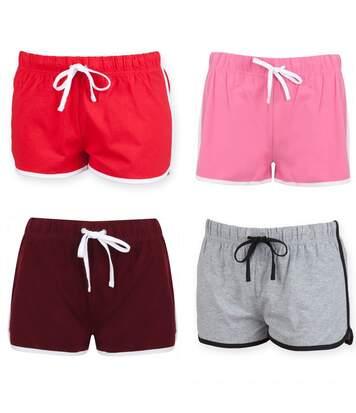 lot 4 shorts rétro femme - SK069 - rose rouge bordeau et gris