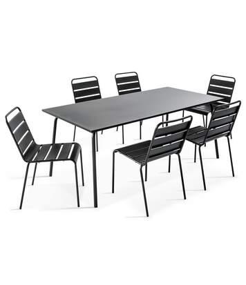 Table de jardin et 6 chaises en métal