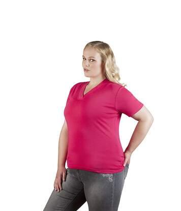 T-shirt maille côtelé col V grandes tailles Femmes