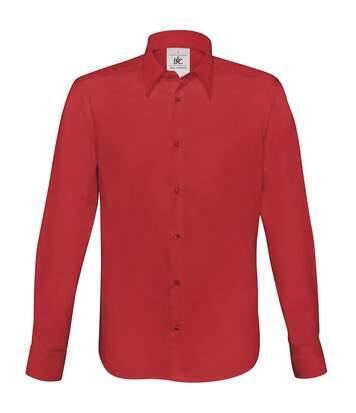 B&C Mens London Long Sleeve Poplin Shirt (Deep Red) - UTRW3040